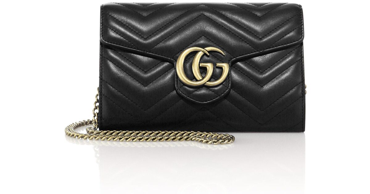 4665210c4f39 Gucci Gg Marmont Matelassé Leather Chain Wallet in Black - Lyst