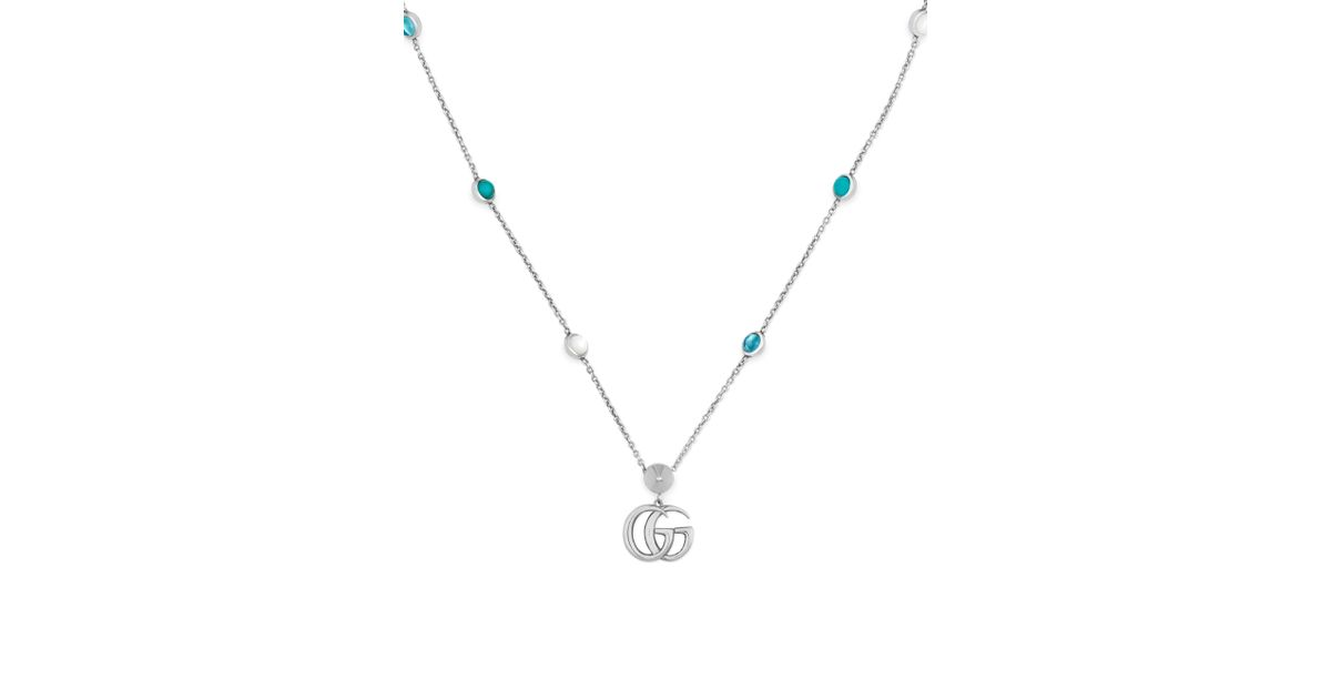 5dad56ce435 Lyst - Gucci Marmont Sterling Silver Necklace - Silver in Metallic