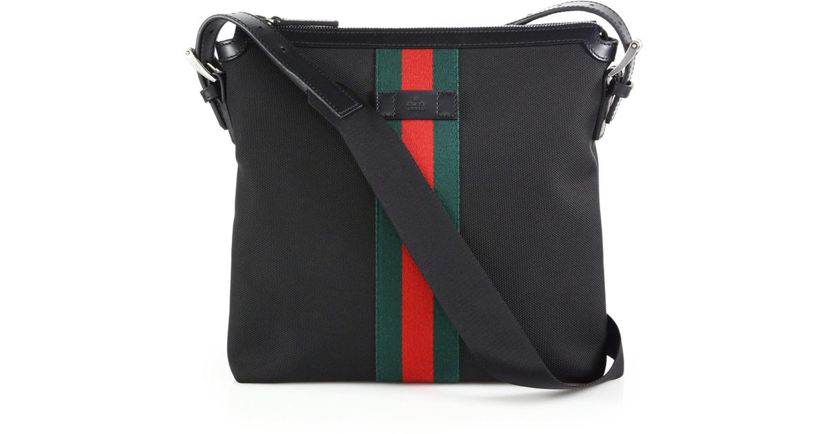 f89f8a87302 Lyst - Gucci Techno Canvas Messenger With Web in Black for Men