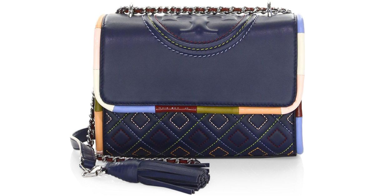 Lyst - Tory Burch Fleming Piping Small Shoulder Bag in Blue d7283dc141947