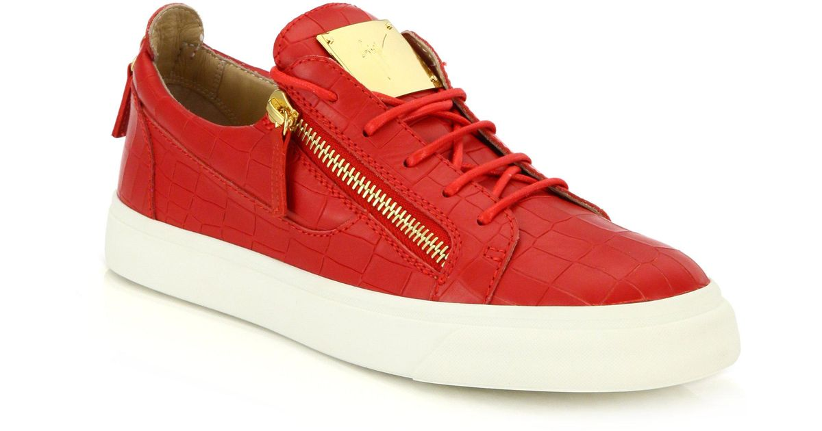 692d2d6b9011c Giuseppe Zanotti Croc-embossed Leather Double-zip Low-top Sneakers in Red  for Men - Lyst