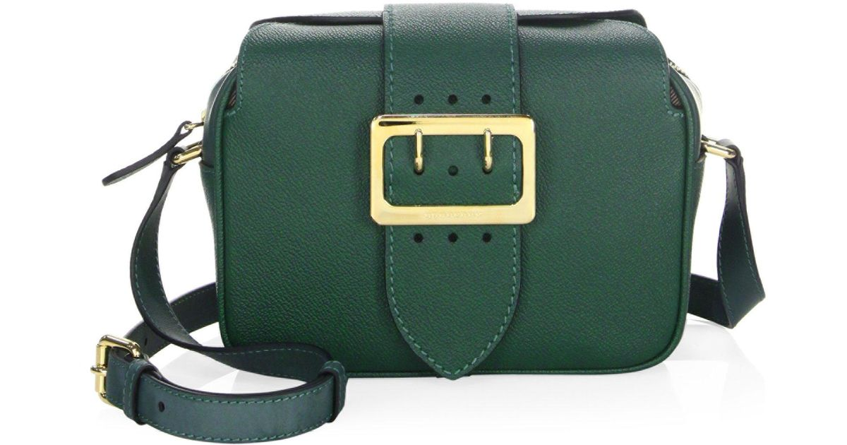 85e4fa5a6387 Lyst - Burberry Zip Buckle Leather Crossbody Bag in Green