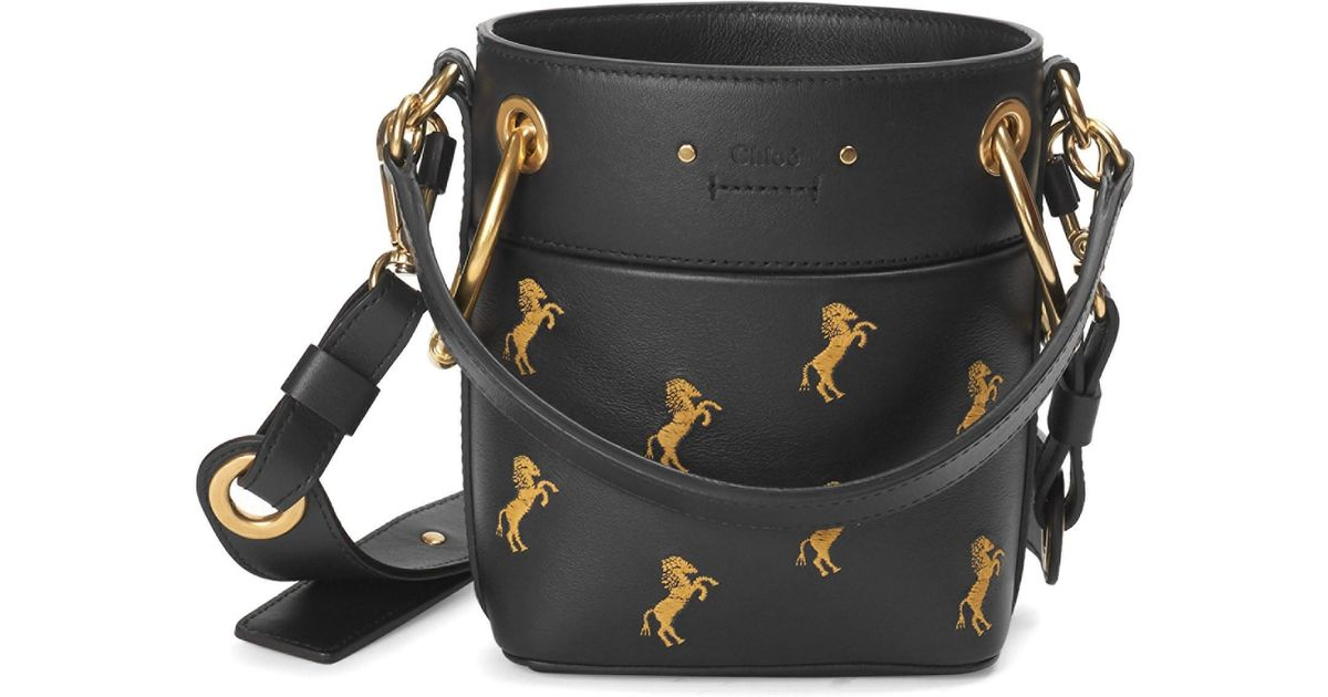 b506d5bb490b Lyst - Chloé Small Little Horses Embroidered Leather Bucket Bag in Black