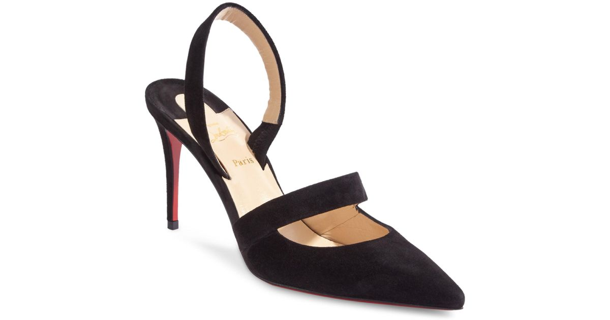 0e957aed22c8 Lyst - Christian Louboutin Actina 85 Suede Slingback Pumps in Black