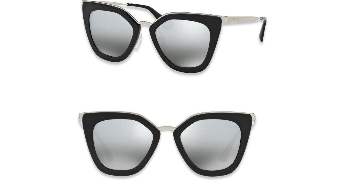 ca24c60db149 ... australia prada 52mm mirrored cat eye sunglasses in black lyst 3fde6  9d4b4
