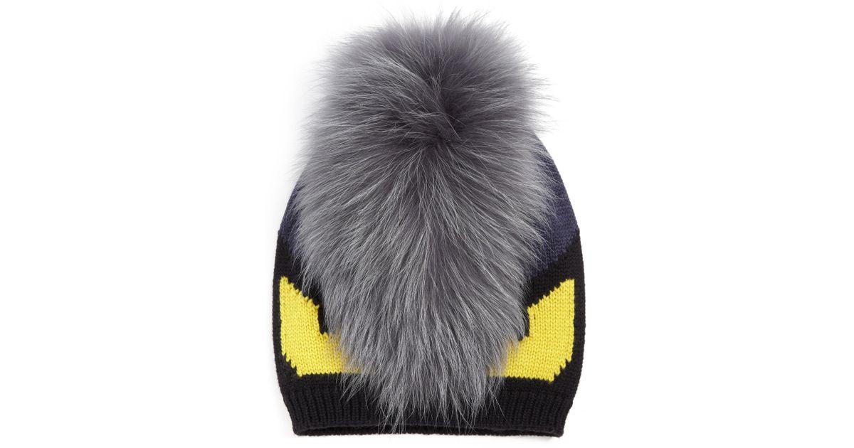 7732e0c2 Fendi Monster Fur-trimmed Wool Hat in Black for Men - Lyst