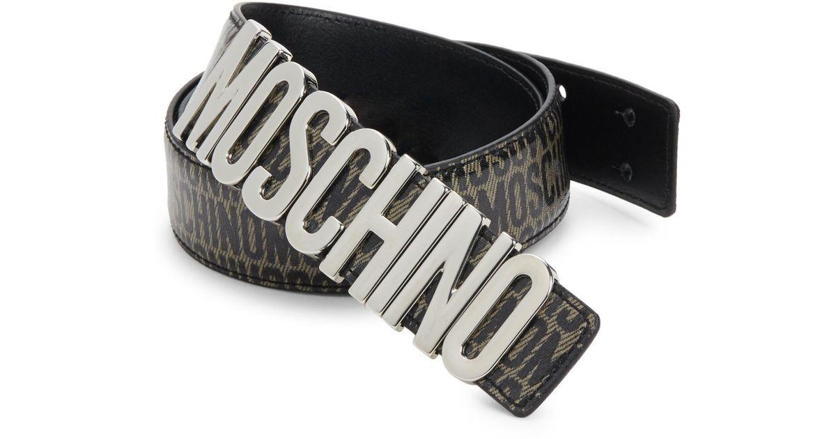 58b06166bc Moschino Men's Printed Logo Belt - Green Black in Black for Men - Lyst
