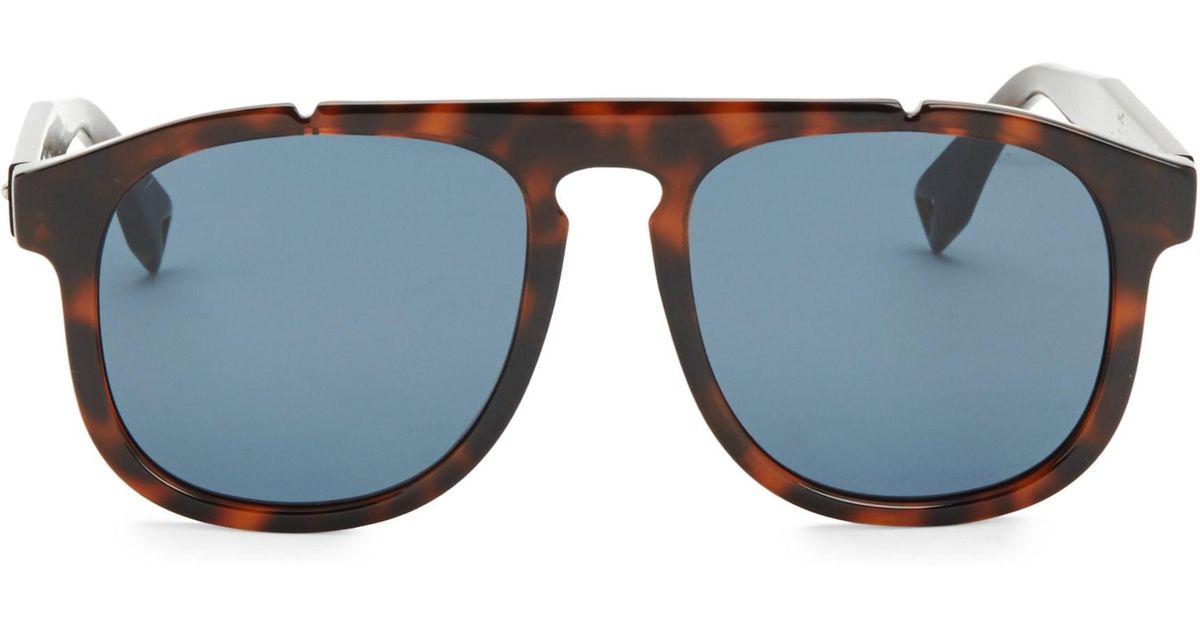 b0398f1790c Lyst - Fendi Men s 54mm Pilot Sunglasses - Dark Havana in Blue for Men