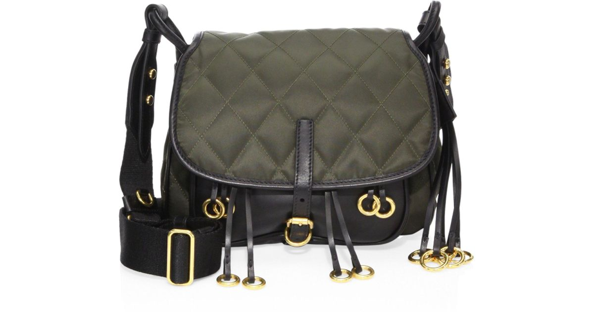 2aea6e06918 Prada Corsaire Crepe And Leather Messenger Bag in Green - Lyst