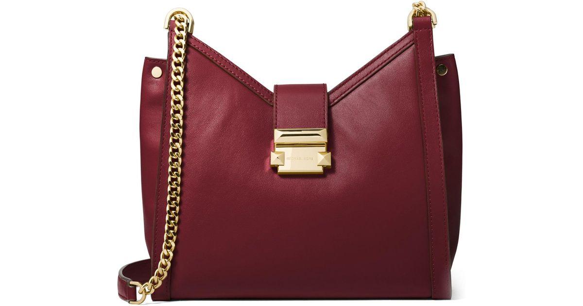 85c001e4a4f6 MICHAEL Michael Kors Women's Whitney Small Leather Crossbody Bag - Oxblood  - Lyst