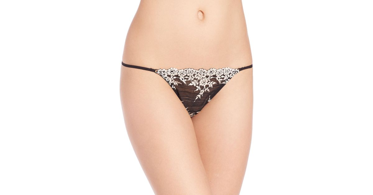 f8643933e978 Lyst - Wacoal Embrace Lace Thong in Black
