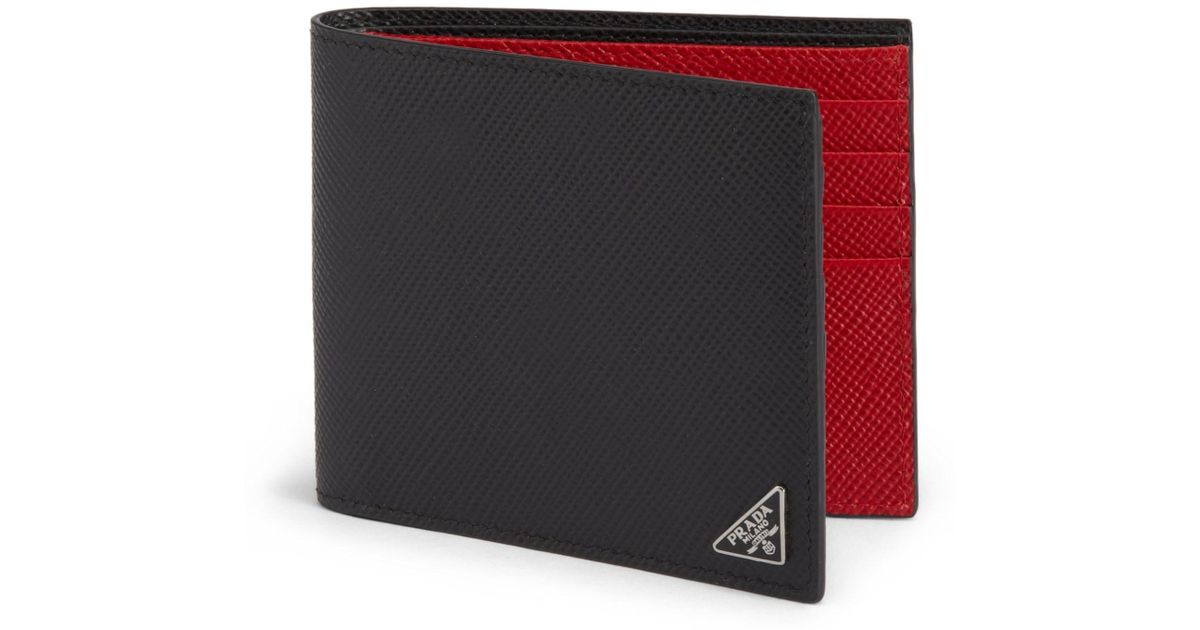 3808d9195ff489 Prada Men's Saffiano Cuir Billfold Wallet - Black/red in Black for Men -  Lyst