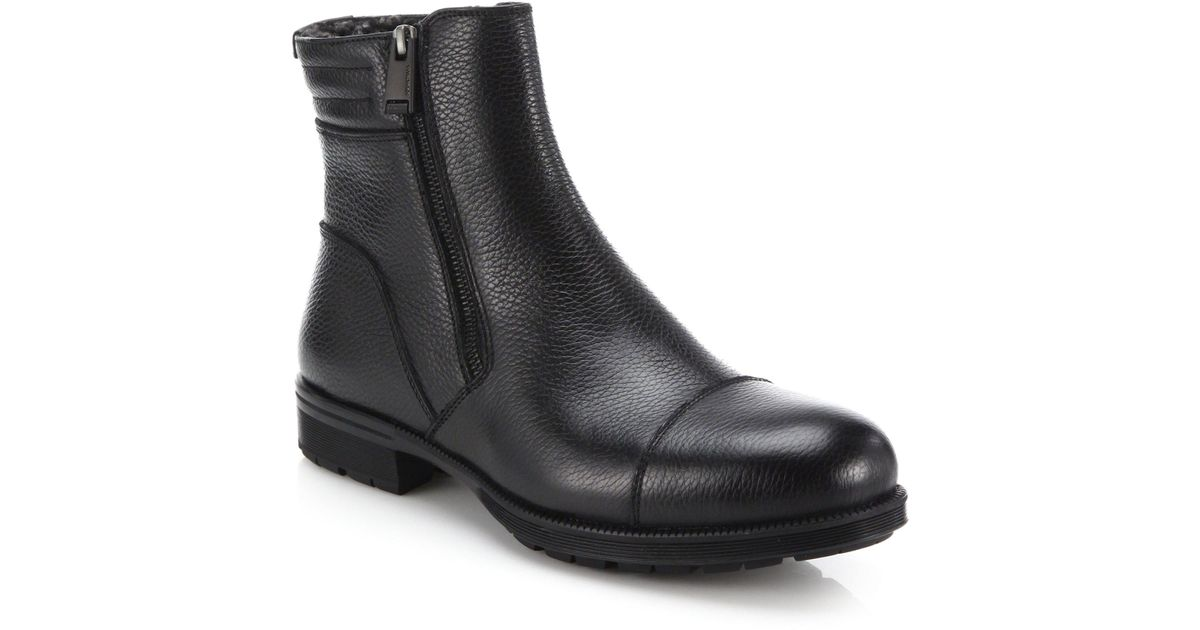 Aquatalia Leather Shearling-Lined Ankle Boots cheap great deals buy cheap big sale Manchester sale online OTcMiyvg9w