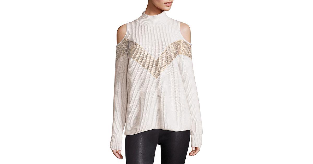 a90de4838ff Zoe Jordan Hawking Wool & Cashmere Chevron Cold-shoulder Sweater in White -  Lyst