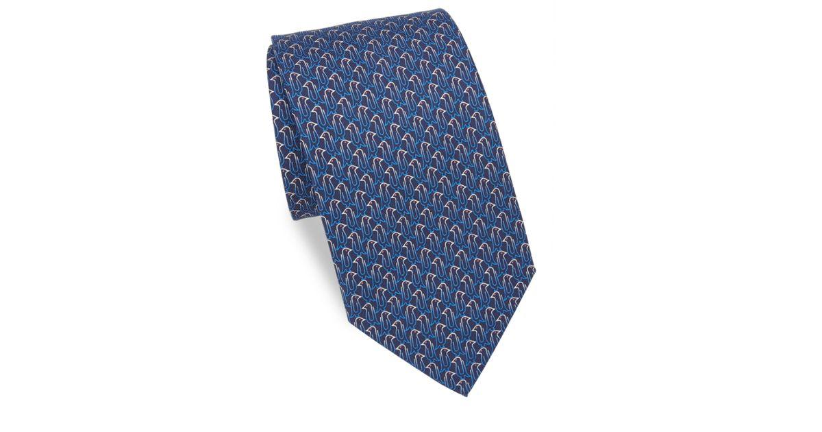 df972aecb0c3 Ferragamo Men's Paperclip Penguin Silk Tie - Blue in Blue for Men - Lyst