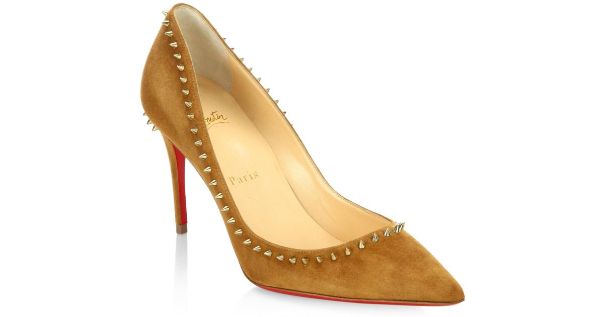 8c9c6d170607 Lyst - Christian Louboutin Anjalina Spiked Suede Point Toe Pumps in Metallic