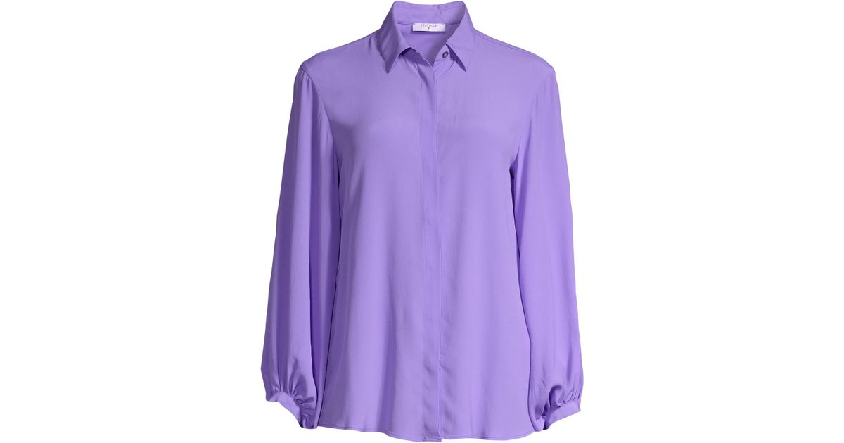 fec45b3105b6df Beatrice B. Women's Silk-blend Button-front Blouse - Lilac in Purple - Lyst