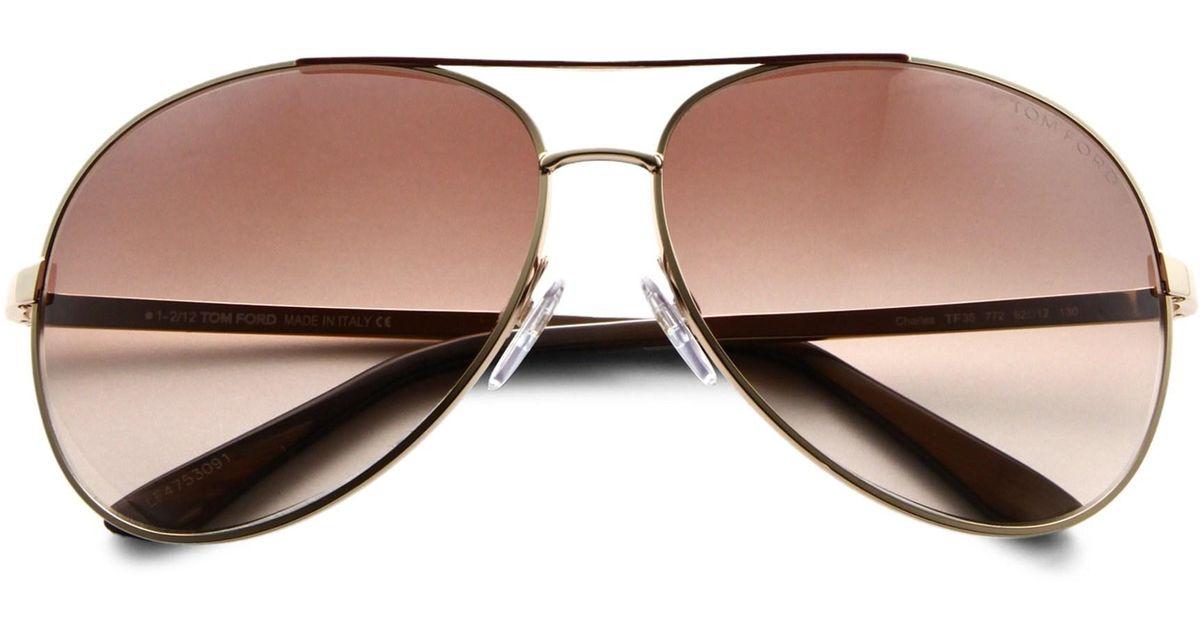 47841b57ce5e Lyst - Tom Ford Women s Charles 62mm Aviator Sunglasses - Rose Gold