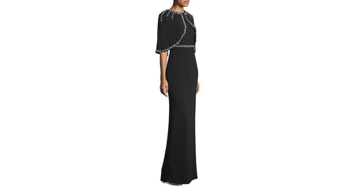 08ae199e92ce2 Lyst - St. John Hand Beaded Cape Dress in Black