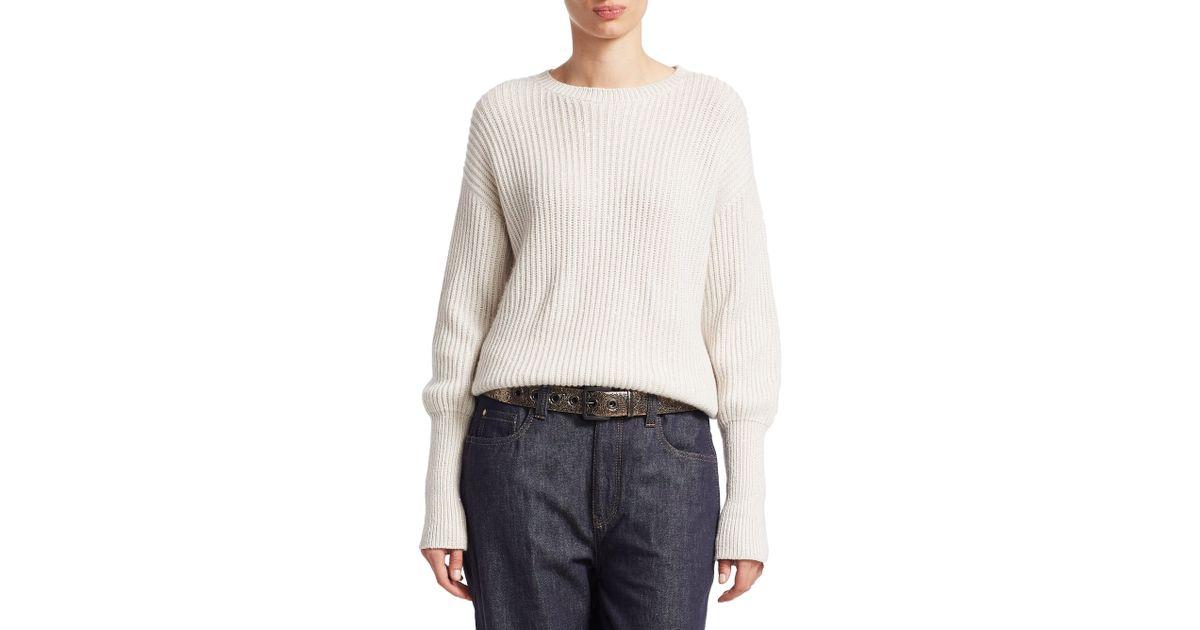 a38cb0c258 Lyst - Brunello Cucinelli Cashmere   Silk Ribbed Sweater