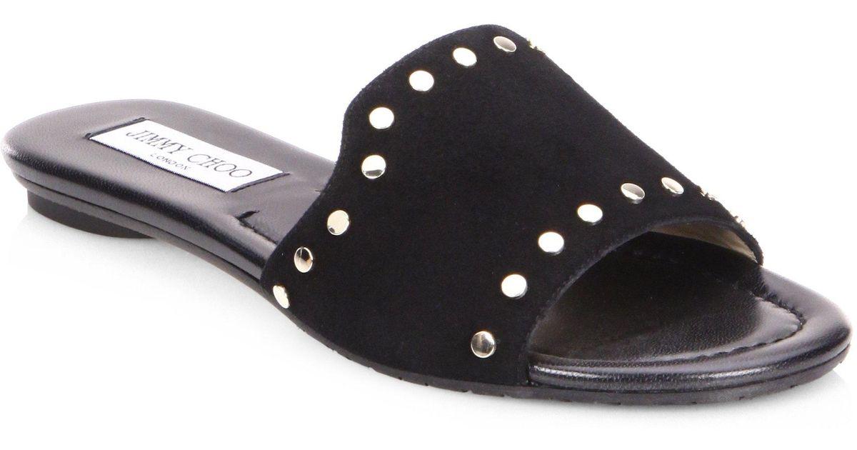 d203fa3944d5 Lyst - Jimmy Choo Nanda Nwu Studded Suede Slides in Black