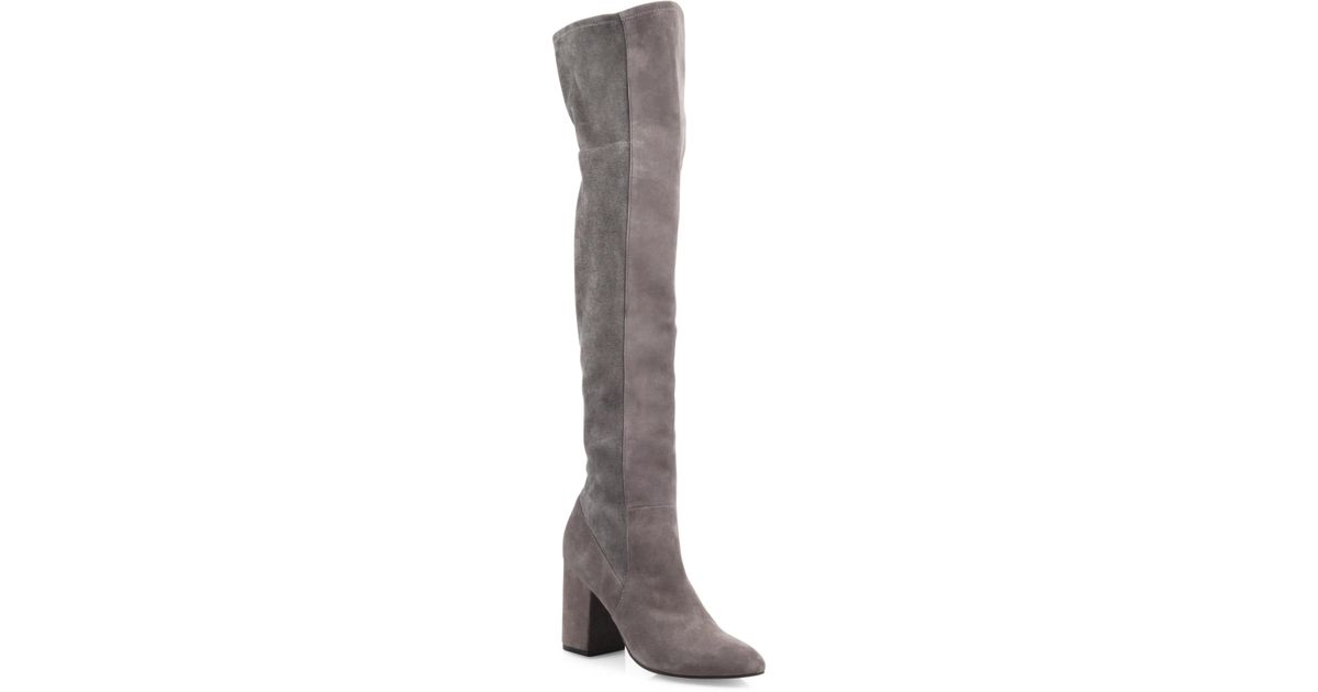 0433fb119b9 Cole Haan Darla Suede Over-The-Knee Boots in Gray - Lyst