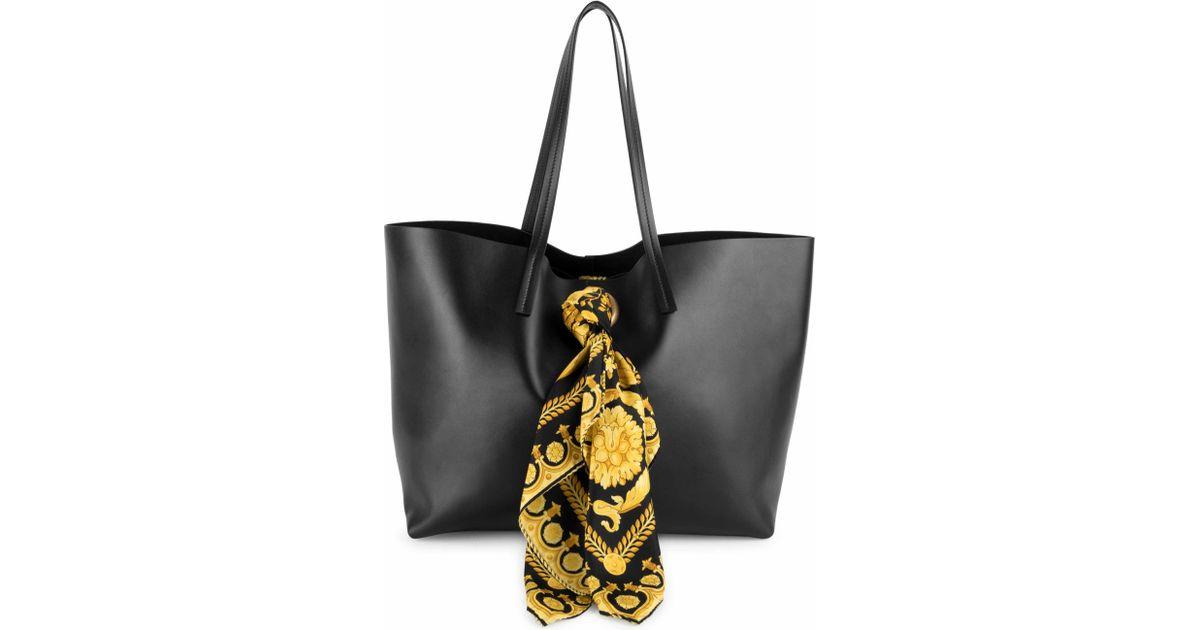 4b1da8acc37b Versace Barocco Print Scarf Leather Tote Bag in Black - Lyst