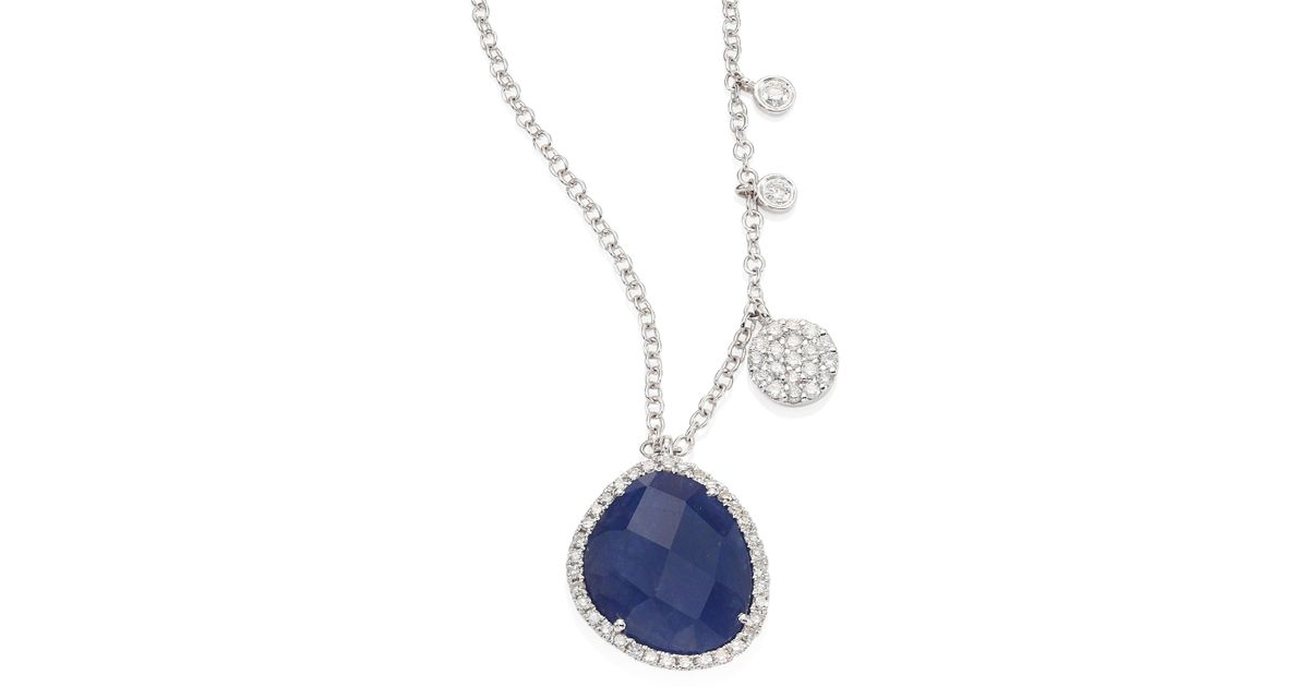 Lyst meira t diamond blue sapphire 14k white gold pendant lyst meira t diamond blue sapphire 14k white gold pendant necklace in blue aloadofball Image collections