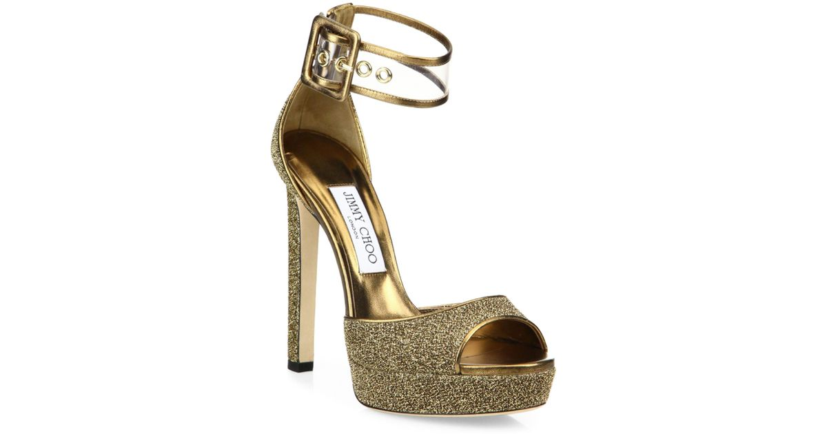 485e21050293 Lyst - Jimmy Choo Mayner Glitter   Pvc Platform Sandals in Metallic