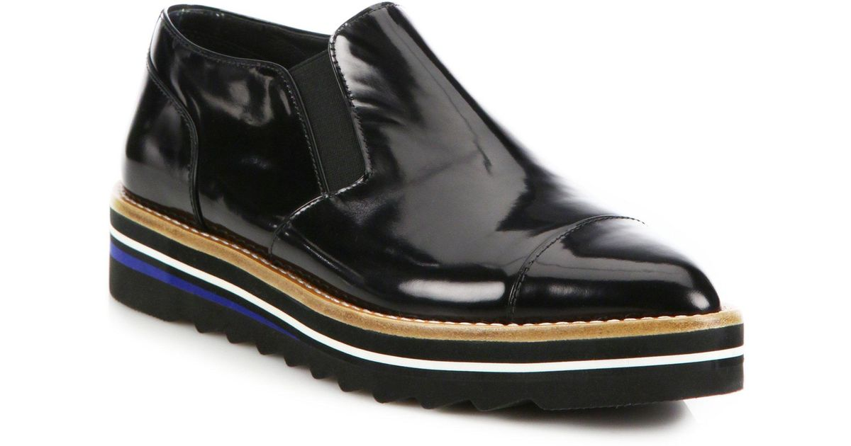 62ce303816e Lyst - Vince Alona Patent Leather Platform Loafers in Black