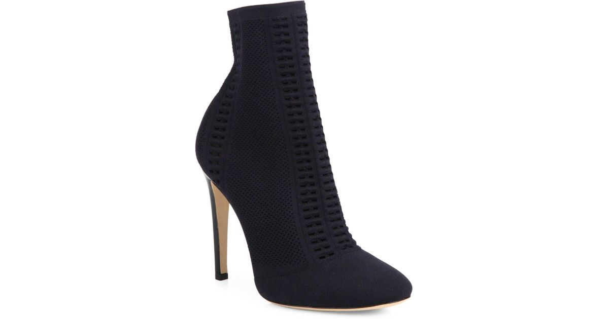 Gianvito Rossi 100MM VIRES STRETCH KNIT OPEN TOE BOOTS n0gjNlgX