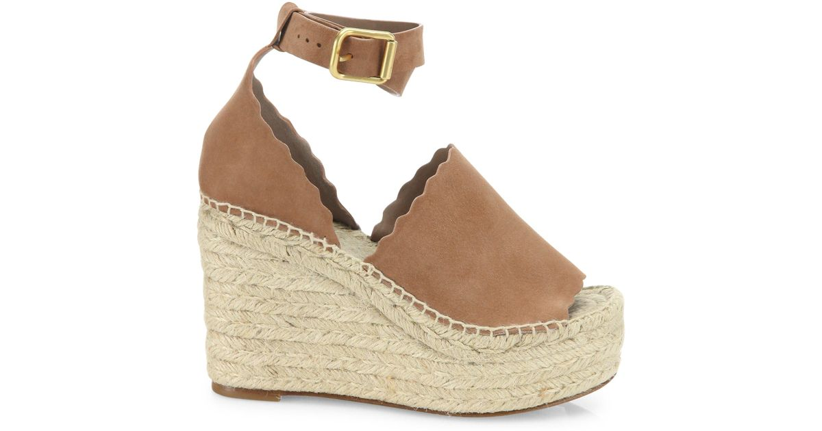 cf39fb60566 Lyst - Chloé Lauren Suede Ankle-strap Espadrille Wedge Sandals in Natural