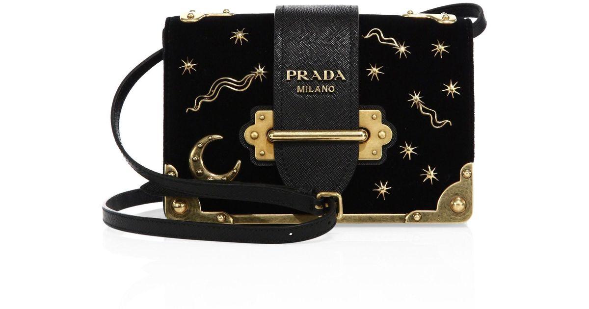 42a10f5132ad Lyst - Prada Women s Small Velvet Astrology Cahier Bag - Black in Black