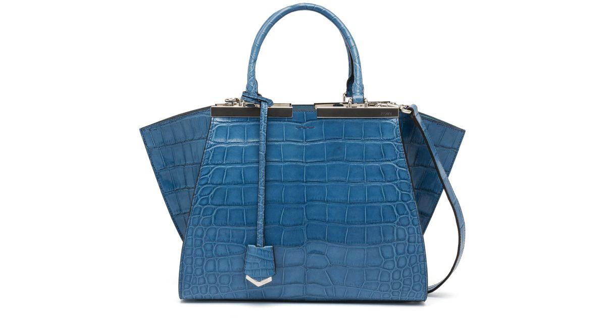 ... authentic lyst fendi 3jours alligator shopper tote bag in blue a1bd5  e2307 ... 64a976a553bff
