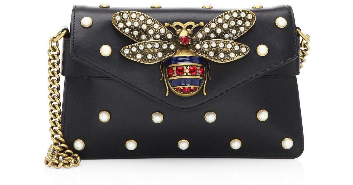 cadf0cd4af Lyst - Gucci Broadway Leather Mini Bag in Black
