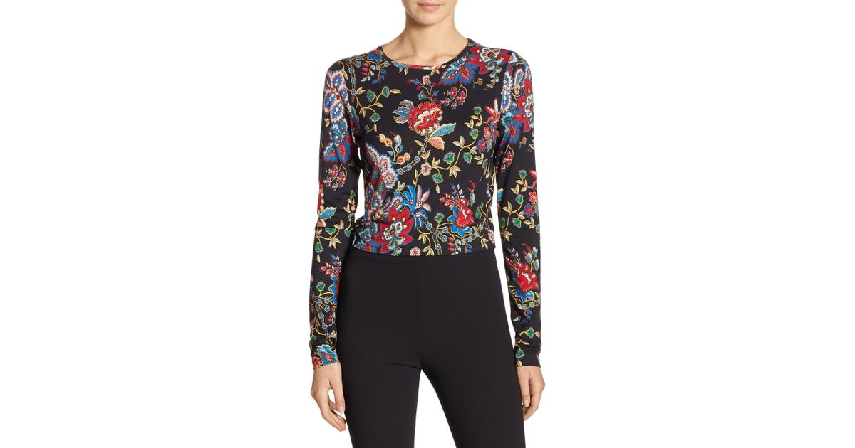7bf8f40cc9cb Alice + Olivia Delaina Floral Crop Top - Lyst