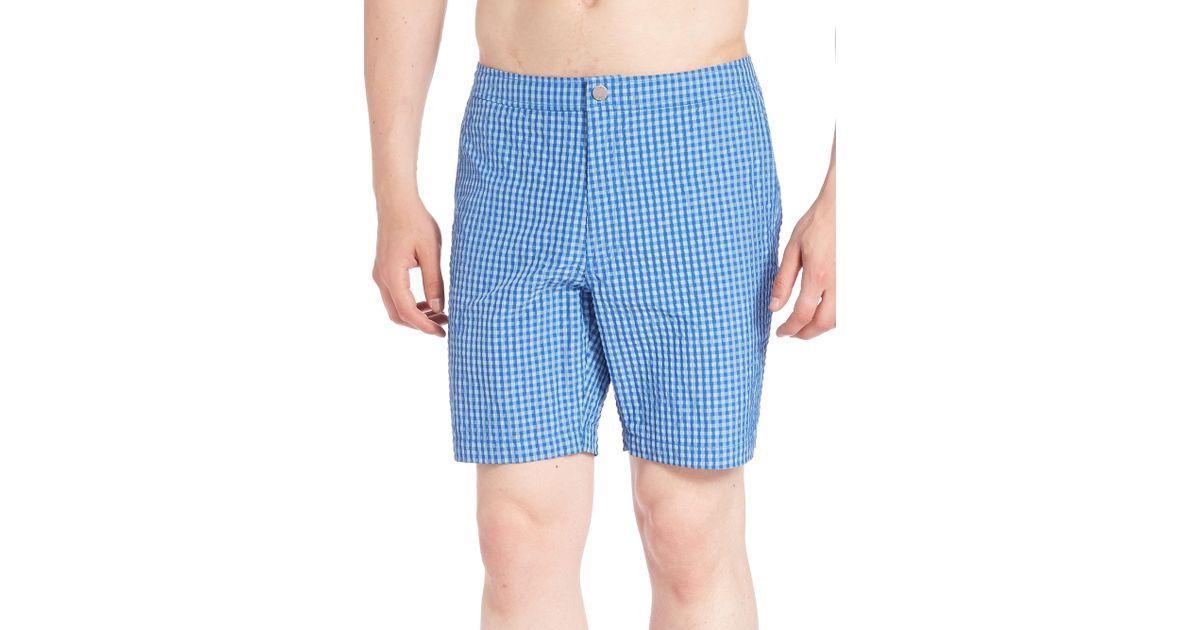 8fc91b3028 Lyst - Onia Charles 7 Washed Seersucker Swim Trunks in Blue for Men