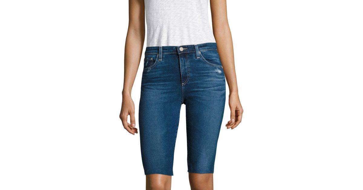 e2a2f6c1fb AG Jeans Brooke Distressed Denim Bermuda Shorts in Blue - Lyst