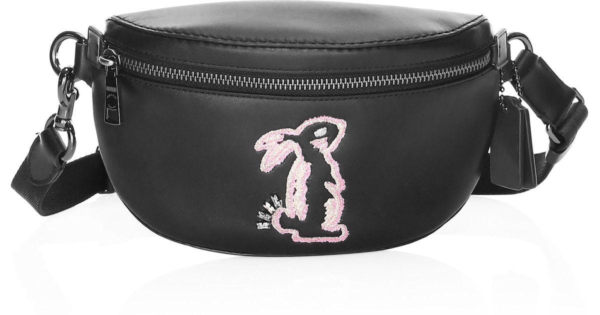35a484fa5c88 Lyst - COACH X Selena Gomez Bunny Belt Bag in Black