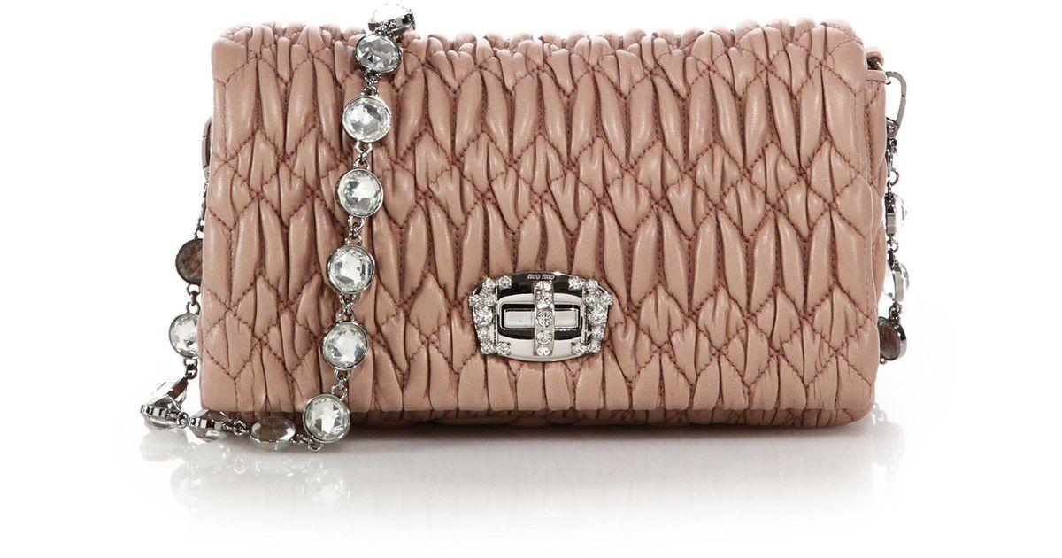 Lyst - Miu Miu Nappa Crystal Embellished Leather Shoulder Bag in Natural 0a0b2cd53a7aa