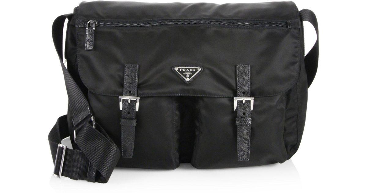 Prada Nylon   Saffiano Leather Messenger Bag in Black - Lyst d918384b32
