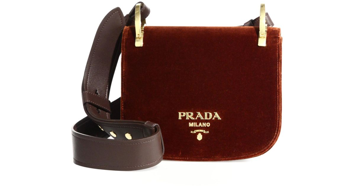 375edd8bfd ... good prada pionniere velvet saddle bag lyst b8d50 f16a6
