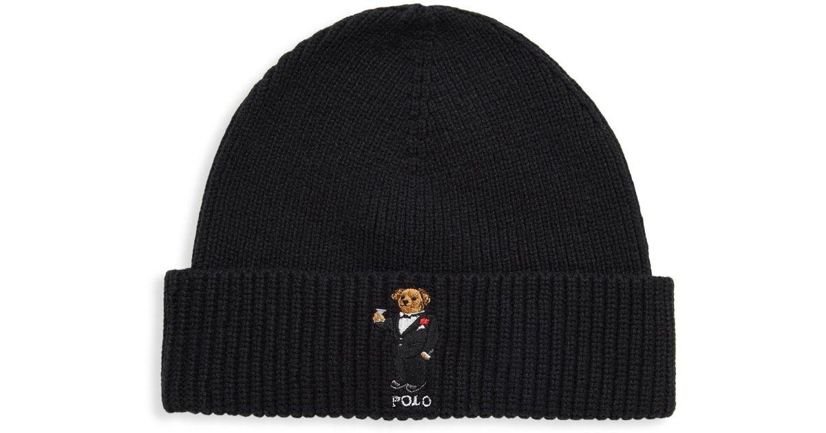 edaa2791c9539 Polo Ralph Lauren Tuxedo Bear Beanie in Black for Men - Lyst