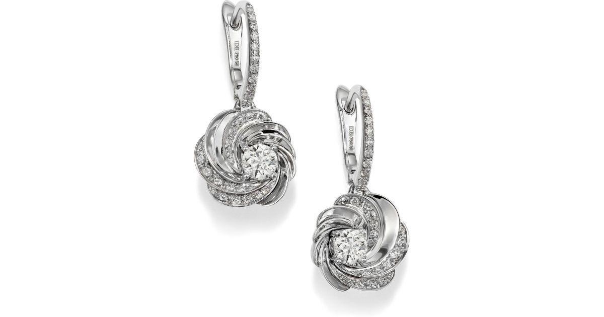 De Beers Aria Diamond 18k White Gold Sleeper Drop Earrings In Metallic Lyst