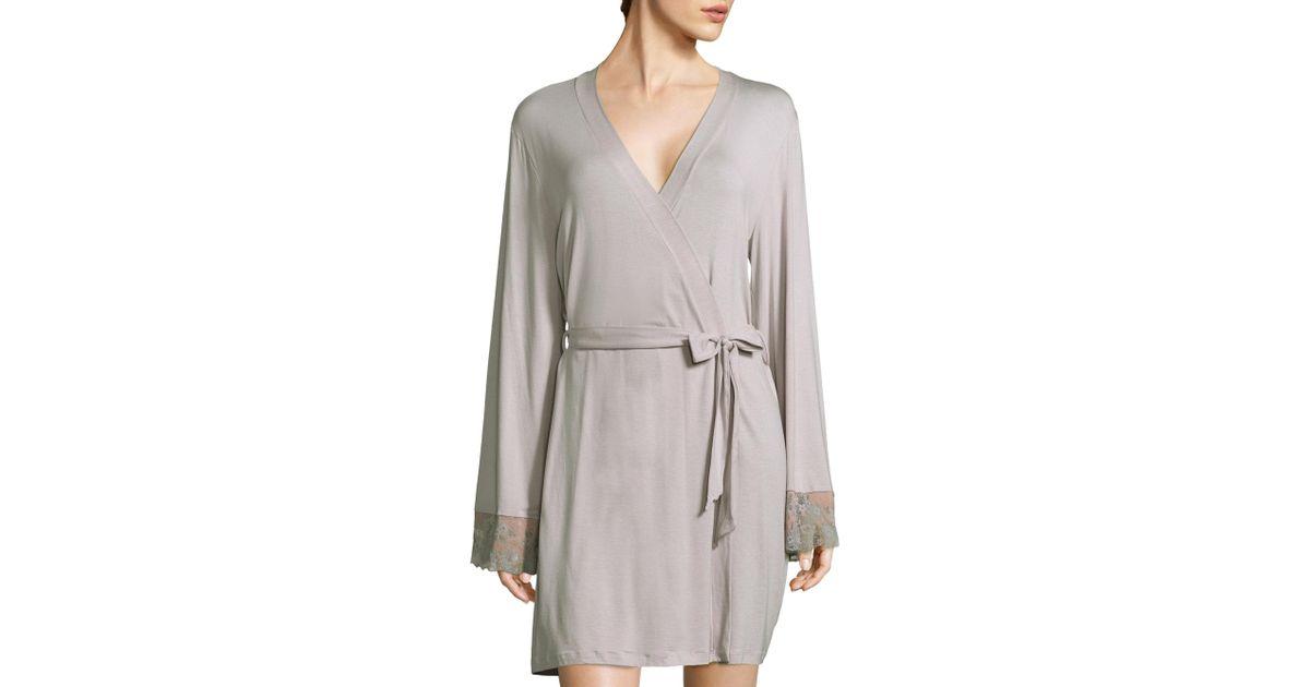 65eb3060d5 Lyst - Cosabella Italia Lace-accented Robe in Gray
