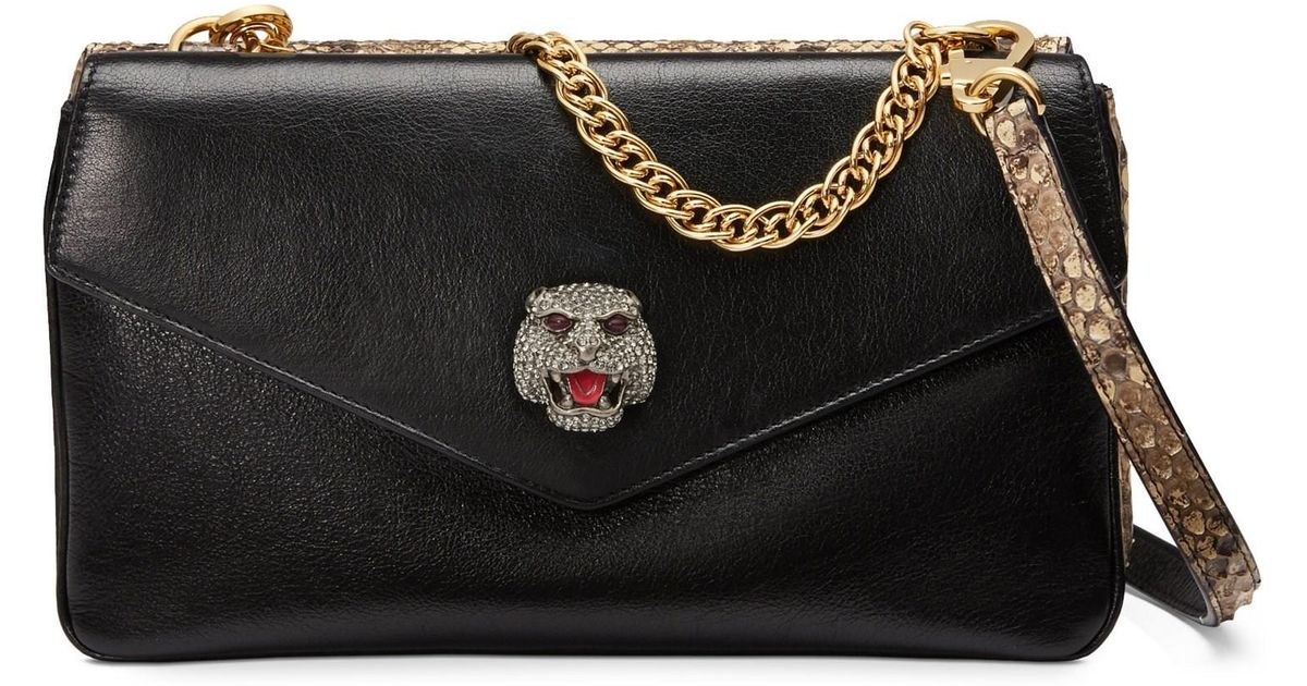 795c20c39f7e Lyst - Gucci Women s Thiara Python Medium Double Shoulder Bag in Black