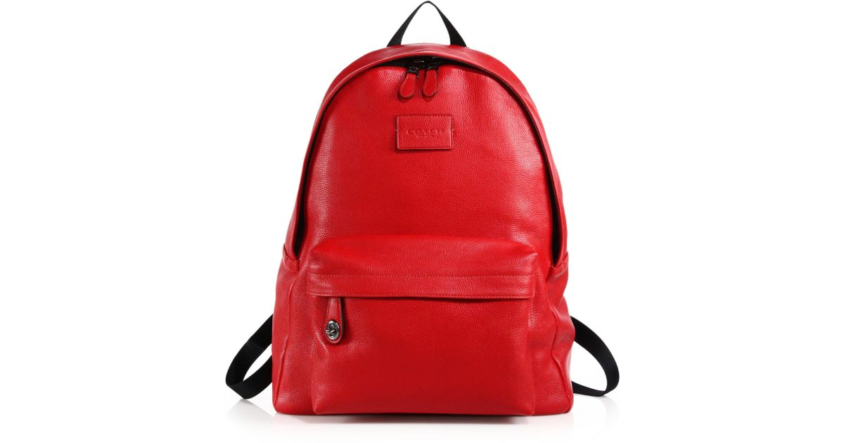 492ba124d896 ... sale lyst coach campus pebbled leather backpack in red 06462 22c2e