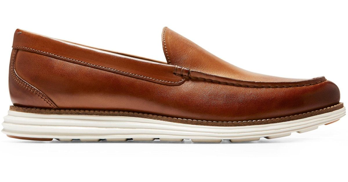 4b8b11cb3ce Lyst - Cole Haan Men s Original Grand Venetian Leather Loafers - British  Tan Ivory in Brown for Men