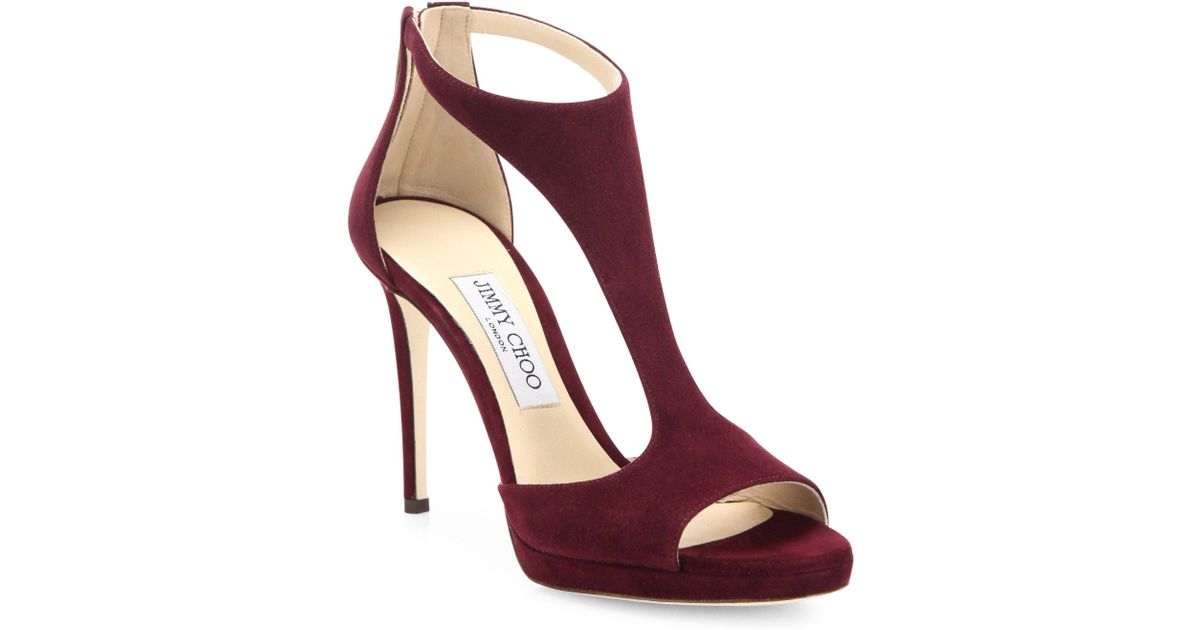d26553f8710 uk jimmy choo lana 100 suede t strap sandals in red lyst 88a1a 71cef