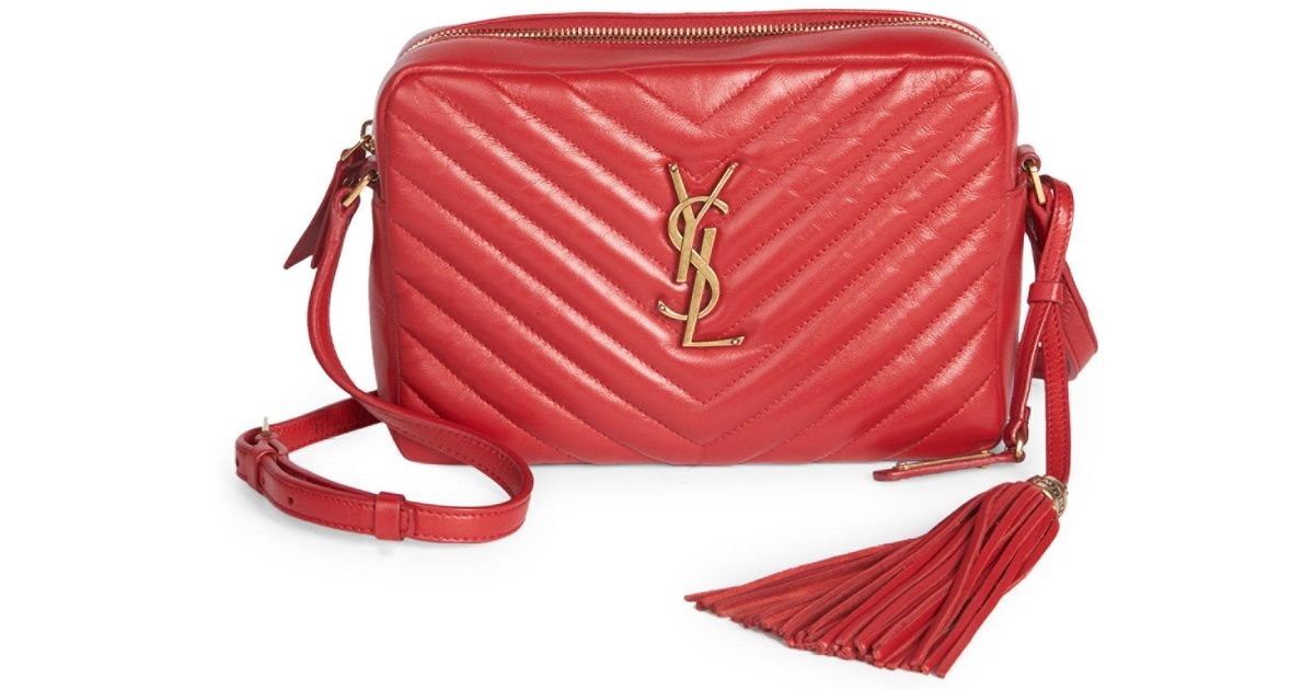 5f8fa2dd476a Saint Laurent Women s Small Leather Matelasse Monogram Lou Camera Bag -  Rose in Red - Lyst